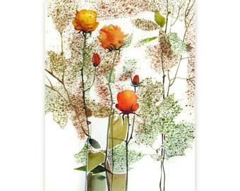 Orange Flowers - original watercolor painting - original painting in orange and green, spring - one of a kind ooak not print