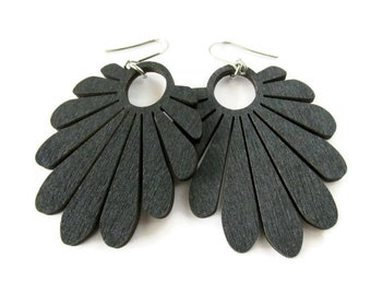 Large Lightweight Black Fan Wooden Modern Hippie Boho Earrings