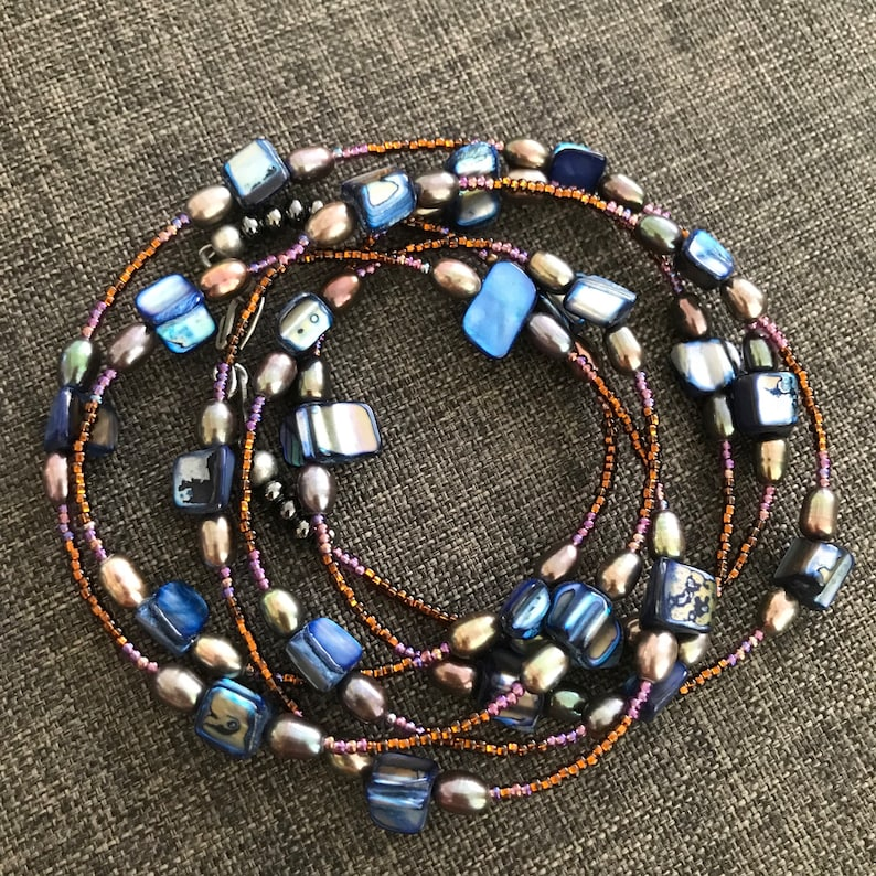 Shell and Glass Jewelry for Women Extra Long Layering Necklace Beaded Wrap Bracelet Beach Boho Necklace Blue Mother of Pearl Necklace