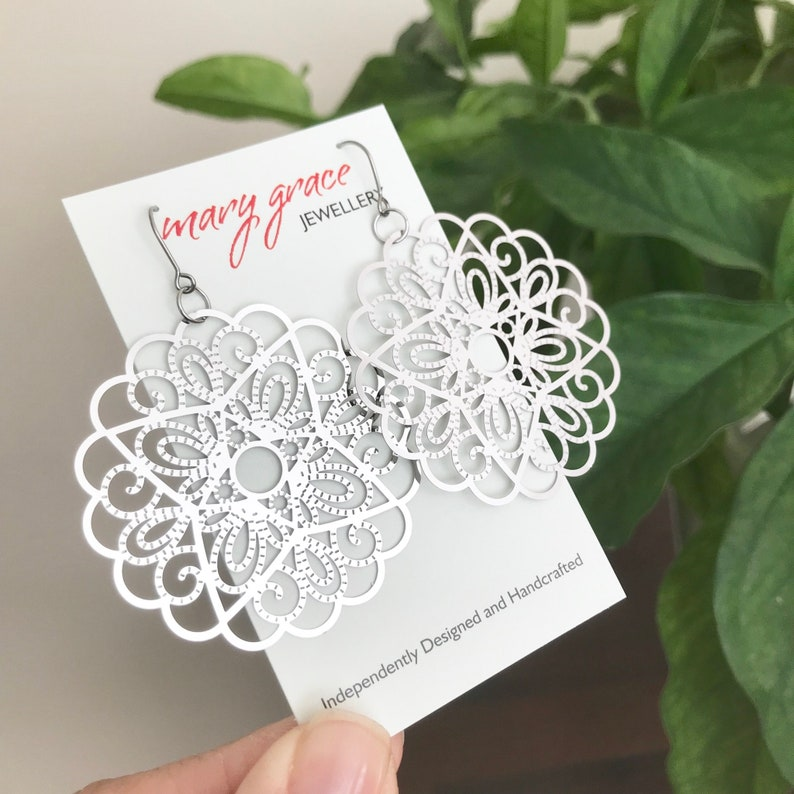 Silver Filigree Earrings Gift for Her Floral Mandala Earrings Modern Boho Style Jewelry Steel Metal Earrings