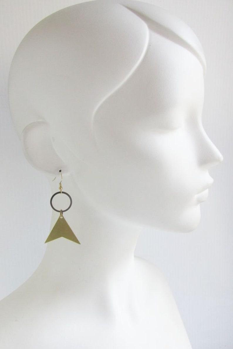 Industrial Rustic Raw Brass Triangle and Hoop Dangle Earrings