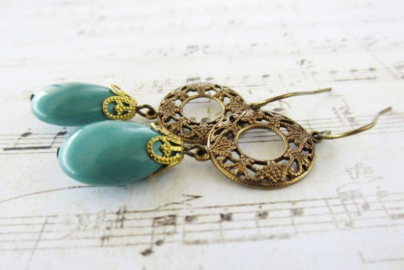 Vintage Bohemian Style Brass Filigree and Turquoise Stone Dangle Earrings