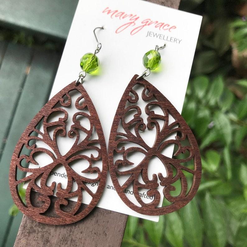Teardrop filigree laser cut earrings Gift for her Rustic brown wooden earrings Boho hippie style jewellery for women