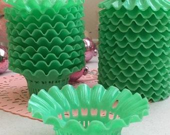 6 Darling Vintage Sweet Jadeite Green Party Favor Filigree Baskets Nut Cups