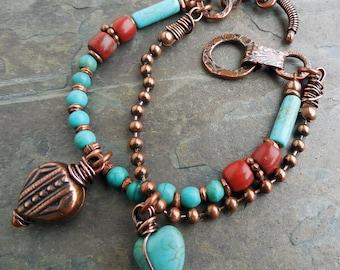 "Southwest Copper Toggle Bracelet Turquoise Red 6"" Wrist B0001"