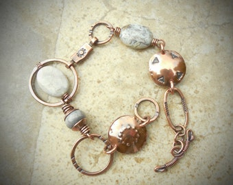 Gray Agate, Jasper and Coral Copper Metalwork Bracelet-LARGE