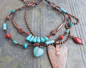 Southwest Heart Turquoise Magnesite and Red Jasper Necklace 0038