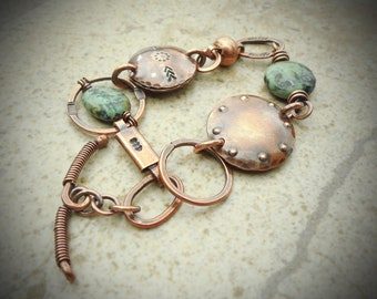 African Turquoise and Copper Metalwork Bracelet-SMALL/MEDIUM