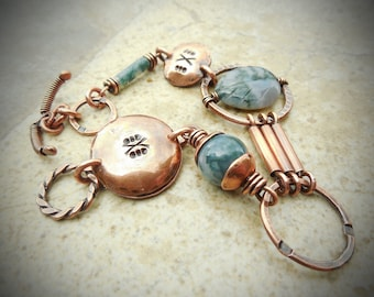 Moss Agate and Copper Metalwork Bracelet-SMALL/MEDIUM