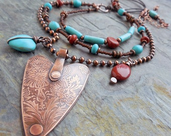 Southwest Heart Turquoise Magnesite and Red Jasper Necklace 0021