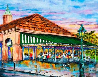 Café du Monde Art Print, Jackson Square, New Orleans French Quarter Coffee Shop, New Orleans Beignets - 'A Morning at Café du Monde'