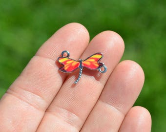 BULK 10 Brown rhinestone dragonfly pendant silver plated A409