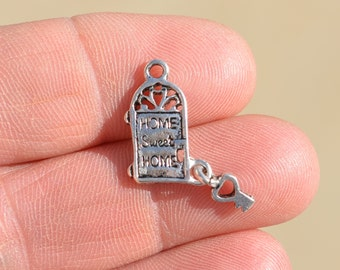 BULK 30 Door and key charms antique silver tone P38