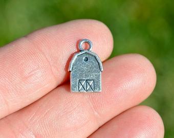 Barn sterling silver charm .925 x 1 Farm buildings charms DKC36233