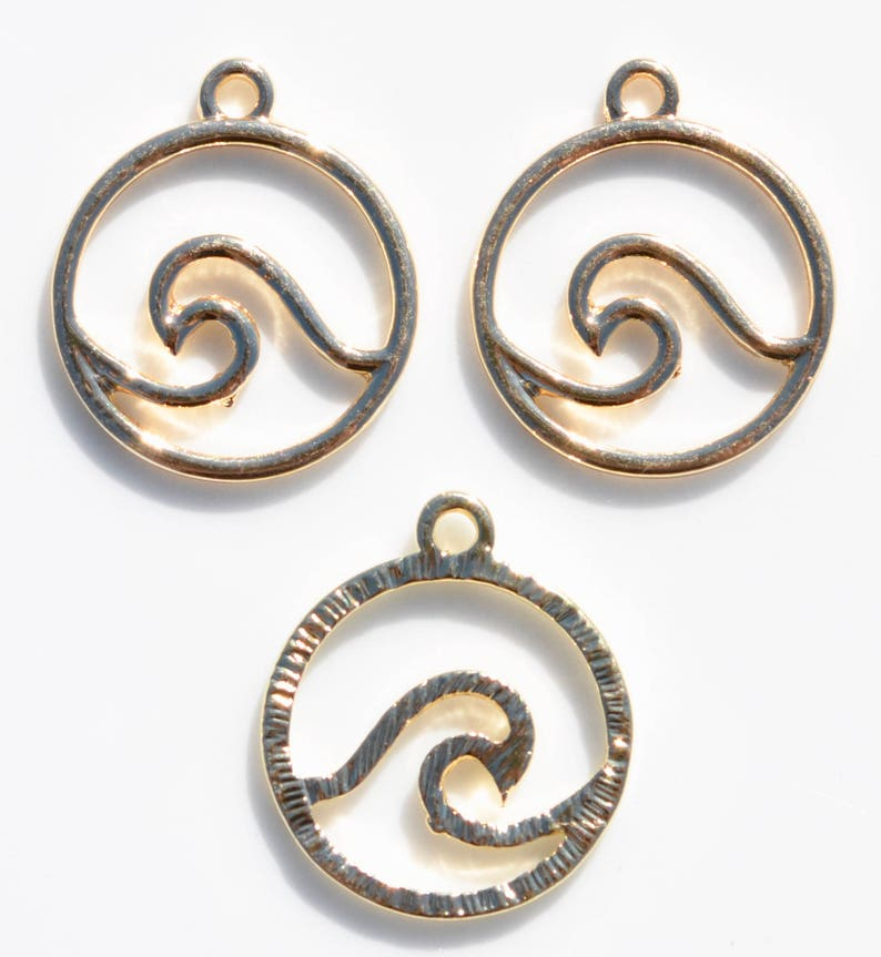 BULK 20  Gold Plated Wave Charms GC5416