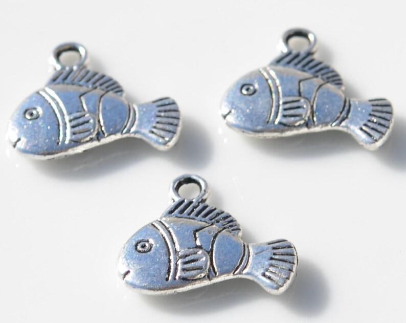 BULK 50  Fish Silver Tone Charms SC2433