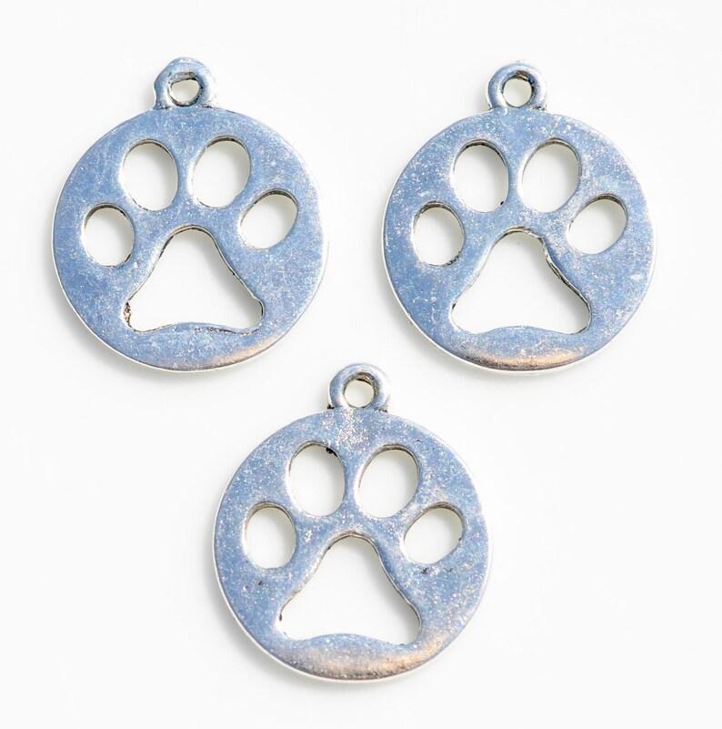 BULK 20 Dog Paw Silver Tone Charms SC4215
