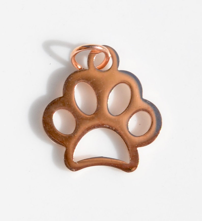 BULK 20 Stainless Steel Rose Gold Plated Dog Paw Charms GC6723