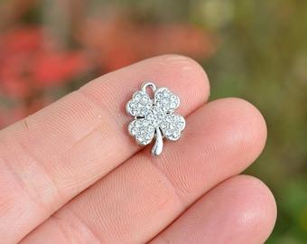 1 Silver 4 Leaf Clover Rhinestone Charm SC3774