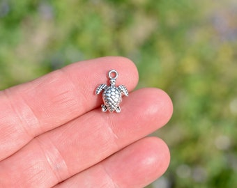 10  Turtle 3D Silver Tone Charms SC5729