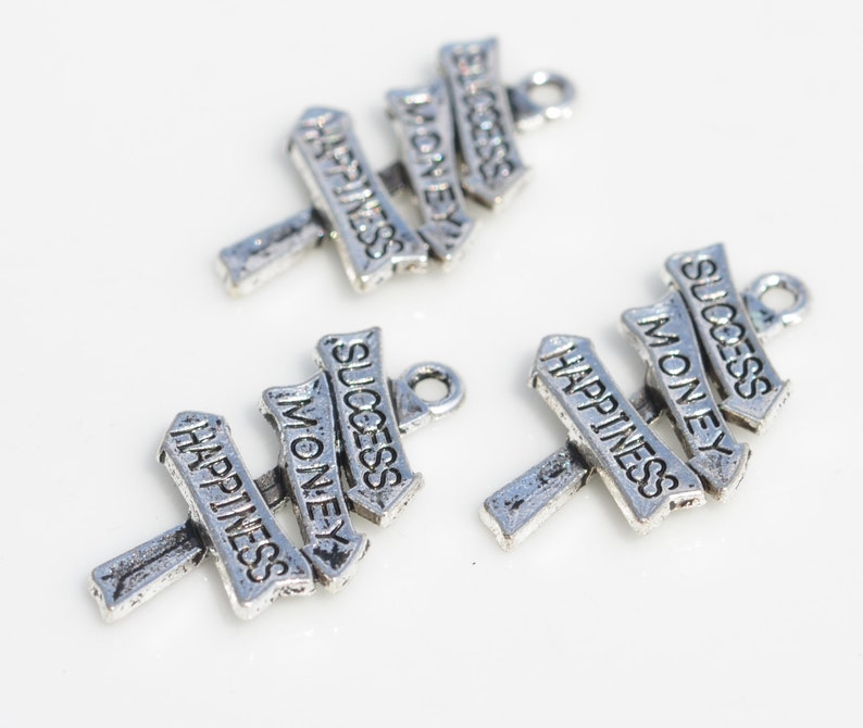 Happiness Sign Silver Tone Charms SC3017 BULK 50  Success Money