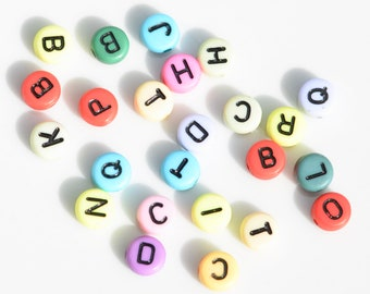 BULK 150 Multi Colored Acrylic Letter Beads,  7mm, Mixed Letters, Round Alphabet Beads  BD1007
