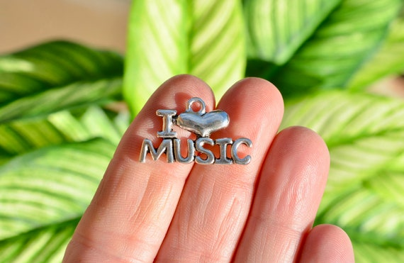 1  I Love Music Silver Tone  Charm SC5445