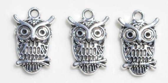 Owls with Big Eyes Silver Metal Earrings