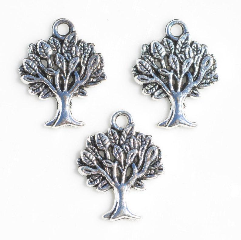 BULK 50 Tree Silver Tone Charms SC6110