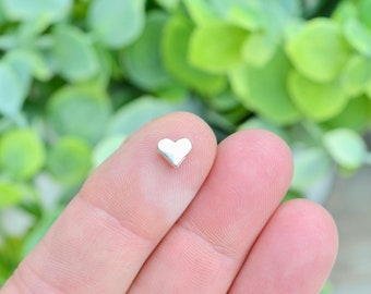 BULK 100 Tiny Heart  Spacer Beads Silver Tone 6mm   BD1010