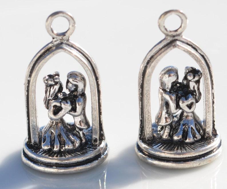 BULK 20 Wedding Couple 3D Silver Tone Charms SC3676