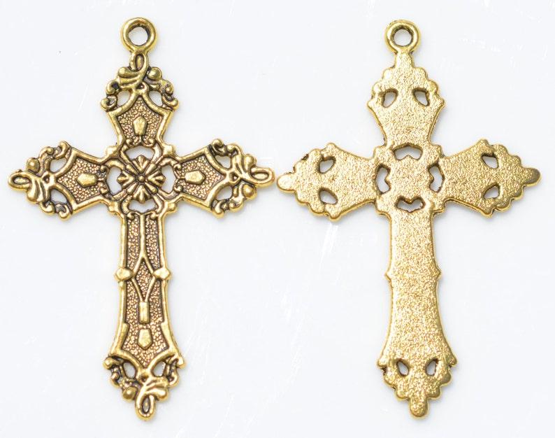 1  Large Cross  Gold Tone Pendant GC3116