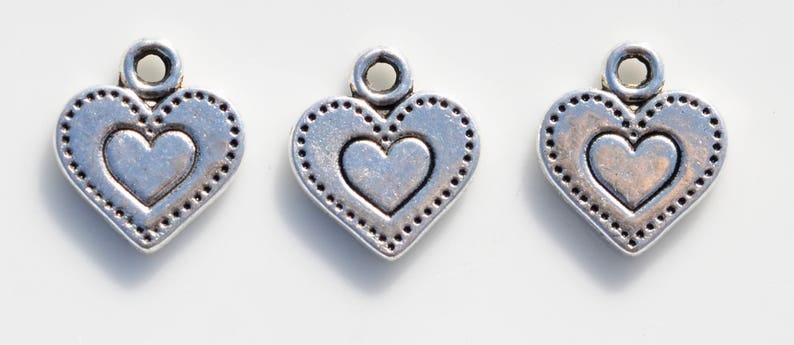 BULK 50 Dotted Heart Antique Silver Tone Charms SC5235
