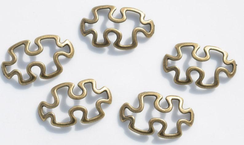 BULK 20 Antique Bronze Puzzle Piece Charms BC1266