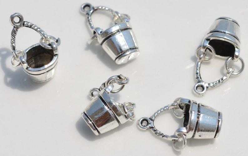 BULK 25 Bucket 3D Silver Tone Charms SC3912