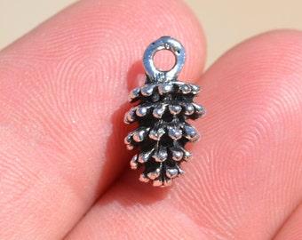 1 Silver Pinecone Charm SC2260