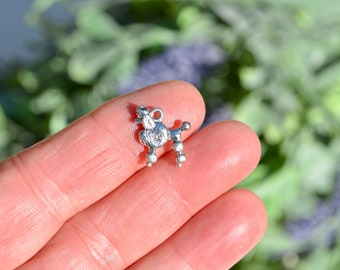 5  Poodle Dog Double Sided Silver Tone Charms SC5423