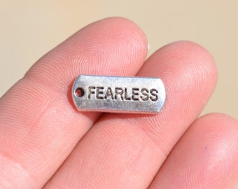 BULK 50  Fearless Silver Tone Word Charms SC2538