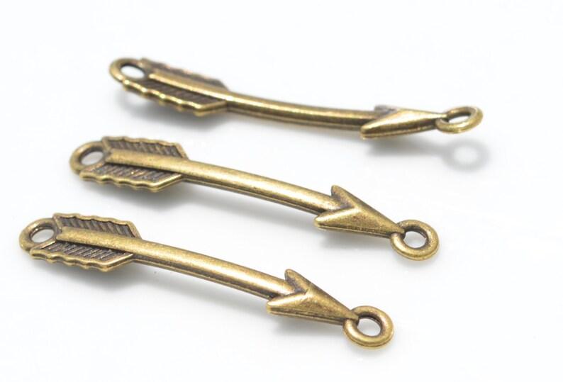 BULK 50   Arrow  Bronze Tone Connector Charms BC2592