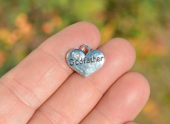 BULK 20  Godfather Silver Tone Heart  Charms SC6859