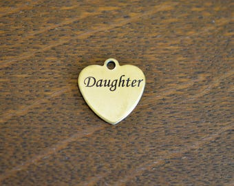 Daughter Custom Laser Engraved Gold Stainless Steel  Charm CC552
