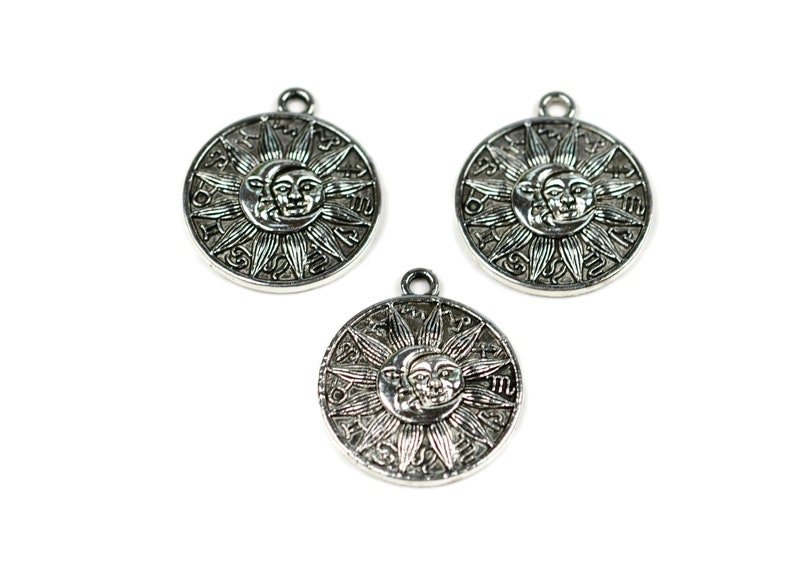 5 Moon Sun Zodiac Silver  Tone Charms SC5016