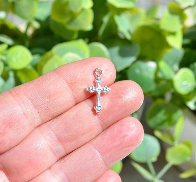 BULK 50   Cross Bright Silver Plated Charms SC1808 image 0