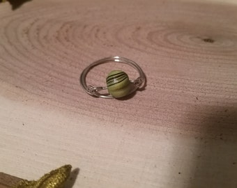 Wooden Bead Wire Ring Size 10