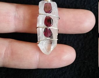 Quartz Point embellished with Garnet beads Wire Wrapped Healing Crystal Pendant Necklace