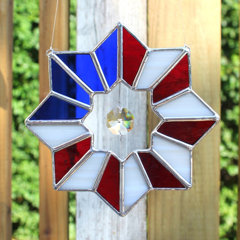 436507780caa Patriotic American Flag Stained Glass Suncatcher