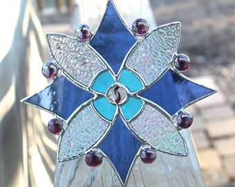 Blues, Purple and Iridescent Clear Stained Glass Suncatcher