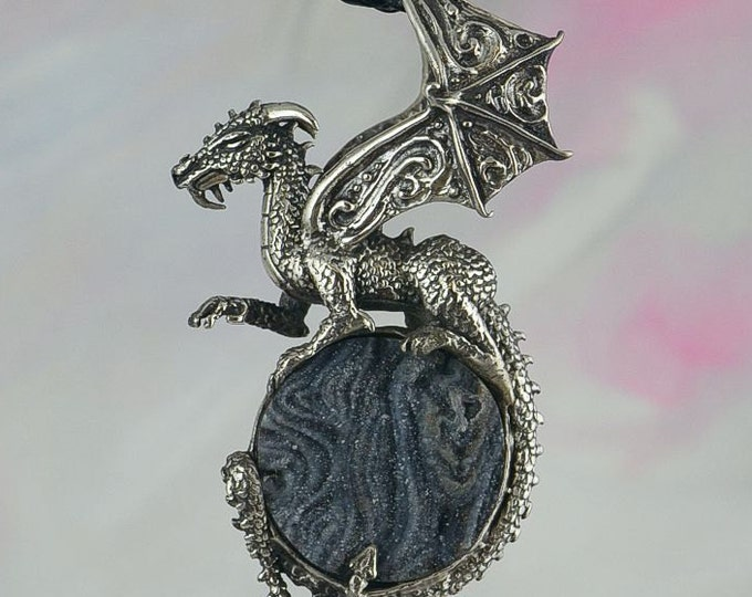 Dragon Fantasy Jewelry Pendant in Sterling Silver with Druzy Chalcedony