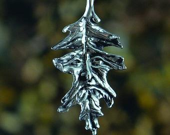 Oak Leaf Greenman Fantasy Jewelry Pendant in Sterling Silver
