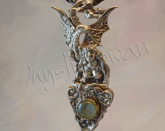 "Fantasy Jewelry ""Magic Foretold""  Dragon & Maiden Pendant in Sterling Silver With Accent Stone"